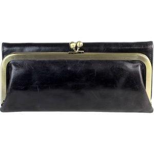 HOBO RACHEL Leather Trifold Wallet Kisslock Black